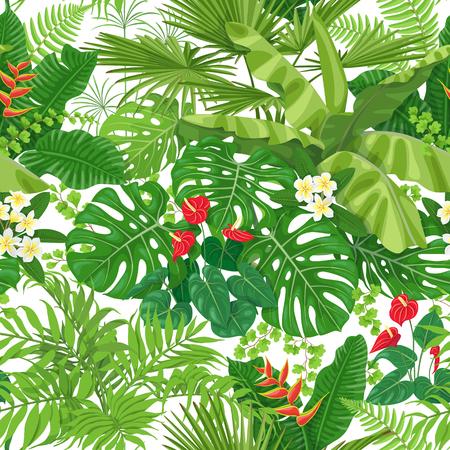 Nahtloses Muster gemacht mit tropischen Blättern und Blumen auf weißem Hintergrund. Trauben von grünen exotischen Pflanzen und Palmwedeln. Regenwald Laub Textur. Flache Vektorgrafik.
