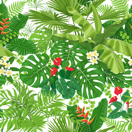 Seamless pattern made with tropical leaves and flowers on white background. Bunches of green exotic plants and palm fronds. Rainforest foliage texture. Vector flat illustration.