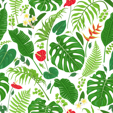 Seamless pattern made with tropical leaves and flowers on white background. Rainforest foliage texture.  Vector flat illustration. Vettoriali