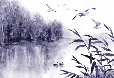Aquarel schilderij. Hand getekende illustratie. Monochrome sereniteit natuur scène met meer, bomen, vliegende vogels en riet. Moerasland landschap met meeuwen. Stockfoto - 92031793