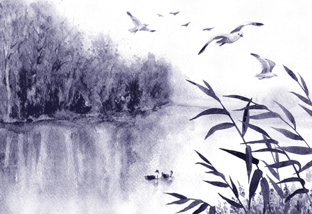 Watercolor painting.  Hand drawn  illustration. Monochrome  serenity nature scene with lake,  trees, flying  birds and reeds. Wetland landscape  with seagulls. Standard-Bild