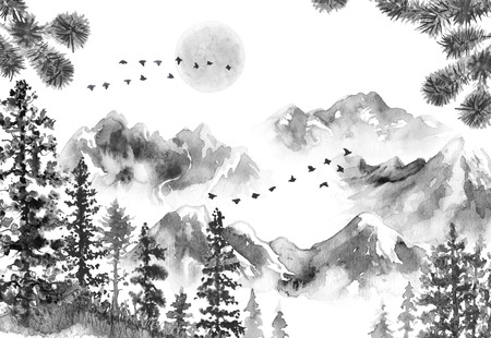 Aquarel schilderij. Hand getekende illustratie. Monochrome sereniteit natuur scène met bergen in mist, maan, vliegende vogels, sparren, gedroogd gras en pijnboomtakken. Oosters inktlandschap.