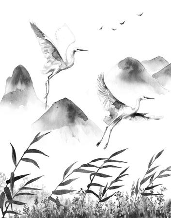 水彩画。 手描きのイラスト。白いの飛んでいるコウノトリと葦山シーン。鳥と風景はモノクロ平静。