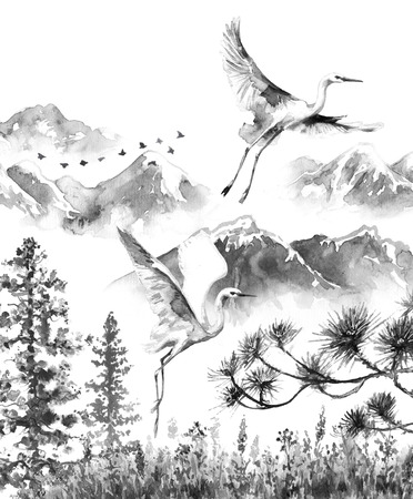 Watercolor painting.  Hand drawn illustration. Mountains scene with white flying storks  and fir-trees. Monochrome serenity landscape with birds.