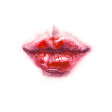 Hand drawn illustration.  Painting glossy red kissing lips isolated on white. Watercolor kiss sketch. Aquarelle wet technique. Valentine day theme.  Stock Photo