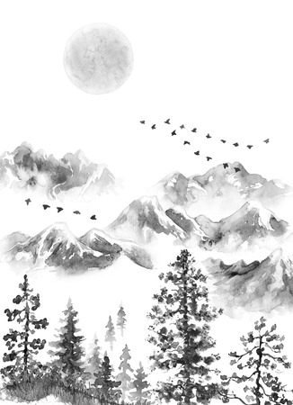 Watercolor painting.  Hand drawn  illustration. Monochrome serenity nature scene with snowcovered mountains in mist, sun, flying birds, fir trees, and dried grass. Oriental ink landscape. Stockfoto