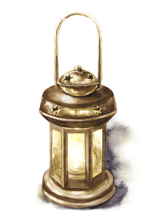 Watercolor painting illustration. Hand drawn bronze metal lantern with handle isolated on white.