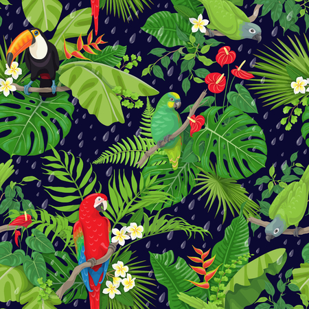 Seamless pattern with tropical birds leaves and falling rain drops on dark background. Colorful parrots and toucan sitting on branches. Tropic rain forest foliage texture. Vettoriali