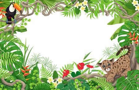 Cadre floral tropical horizontal composé de feuilles, de fleurs, d'un toucan assis et d'un petit puma en colère. Espace pour le texte. Thème des enfants. Bordure de feuillage de forêt tropicale. Illustration de plat Vector