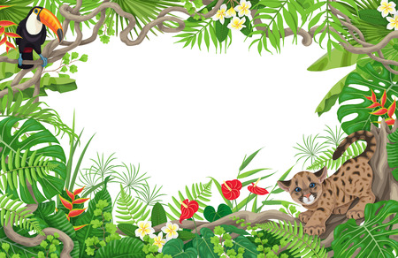 Horizontal tropical floral frame made with leaves, flowers, sitting toucan and little angry puma. Space for text. Children theme. Rain forest foliage border. Vector flat illustration.