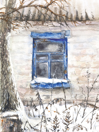 Watercolor painting.  Hand drawn wall with window of an old abandoned house. Winter village scene.