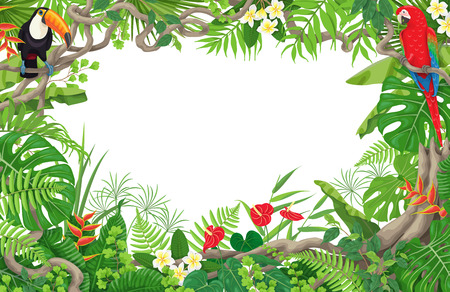 Colorful tropical leaves and flowers background. Horizontal floral frame with birds Macaw and Toucan sitting on liana branches. Space for text. Rainforest foliage border. Vector flat illustration.