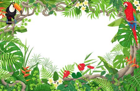 Kolorowe tropikalne liście i kwiaty w tle. Poziomy kwiatowy rama z ptakami Ara i Tukan siedzący na gałęzi liana. Miejsce na tekst. Obramowanie liści lasu deszczowego. Płaskie ilustracji wektorowych.