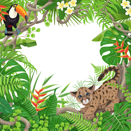 Colorful tropical leaves and flowers background. Square floral frame with funny Cougar Cub  and Toucan sitting on liana branches. Space for text. Rainforest foliage border. Vector flat illustration. Ilustracja