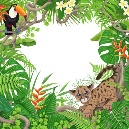 Kleurrijke tropische bladeren en bloemenachtergrond. Vierkant bloemenframe met grappige Cougar Cub en Toucan-zitting op de takken van Liana. Ruimte voor tekst. Regenwoud gebladerte grens. Platte vectorillustratie.