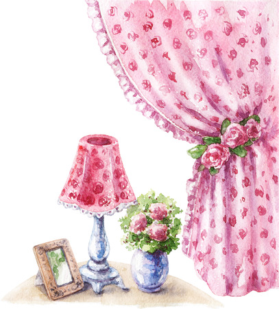 Watercolor painting.  Hand drawn pink decor items in shabby style.  Old lamp, vase with flowers, vintage drape curtain and roses isolated on white. Фото со стока