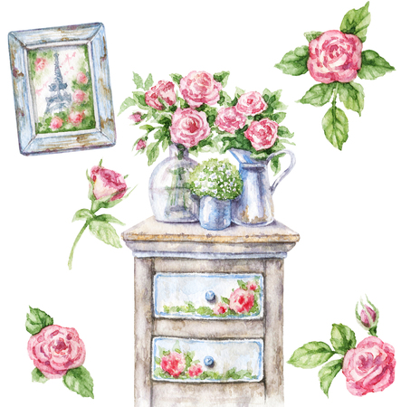 Watercolor painting.  Hand drawn shabby chic furniture, romantic picture and roses.  Vintage decor items isolated on white.