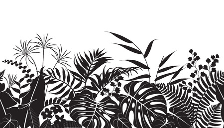 Seamless line horizontal pattern made with tropical plants silhouette. Vettoriali