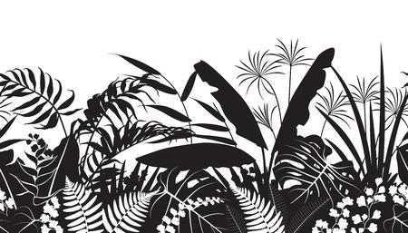 熱帯植物のシルエットで作られたシームレスなライン水平パターン。花と葉が並んで黒と白の花の質感。