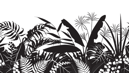 Seamless line horizontal pattern made with tropical plants silhouette. Black and white floral texture with flowers and leaves in row.