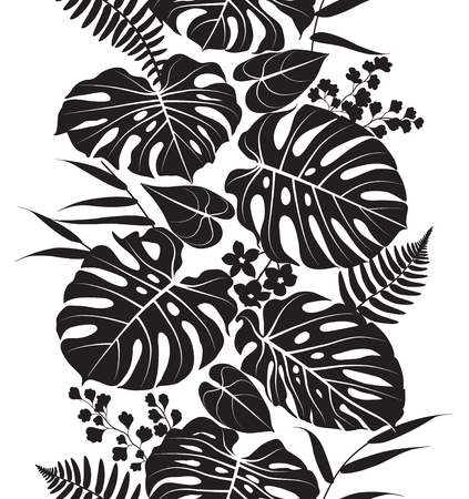 Seamless line vertical pattern made with tropical plants silhouette. Black and white floral texture with leaves in row. Monochrome vector flat illustration.