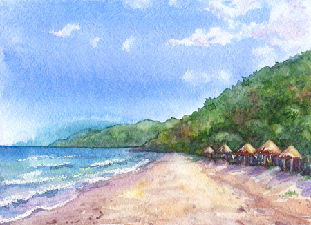 Hand drawn watercolor illustration. Nature landscape. Watercolor sketch of empty tropical beach on the sea coast.  Tropical view background. Stock Photo