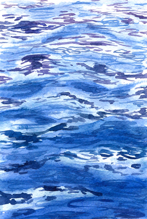 Hand drawn watercolor illustration. Watercolor blue water surface background. Sketch of waves and reflections at sea.
