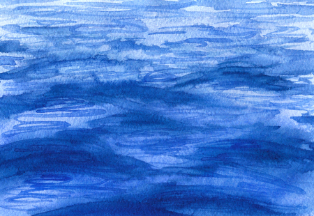 Hand drawn watercolor illustration. Watercolor blue water surface background. Sketch of waves at sea.  Stock Photo