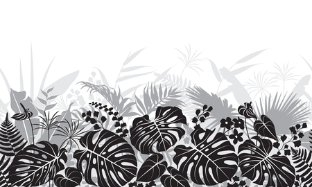 Seamless line horizontal pattern made with tropical leaves and flowers silhouette. Black, gray and white floral texture with plants in row. Monochrome vector flat illustration.