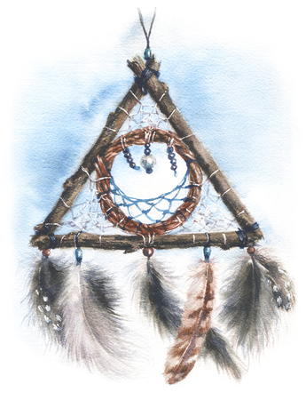 Watercolor painting illustration. Hand drawn Indian Amulet Dream Catcher. Triangle dreamcatcher with  feathers sketch.