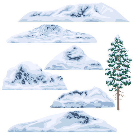 Set of snow-capped mountains and hills isolated on white background. Winter pine tree. Nature landscape design elements. Vector flat illustration. Reklamní fotografie - 96923892
