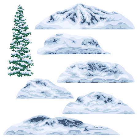 Set of snow-capped mountains and hills isolated on white background. Winter fir tree and glaciers. Nature landscape design elements. Vector flat illustration.