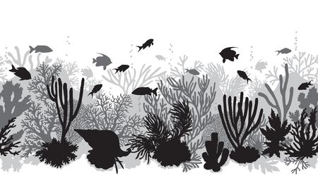 Dibujado a mano elementos naturales bajo el agua. Arrecife de coral sin patrón horizontal. Siluetas monocromas de corales, almejas y peces tropicales nadando. Textura de fondo submarino en blanco y negro.