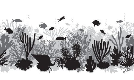 Hand drawn underwater natural elements. Coral reef horizontal seamless pattern.  Monochrome silhouettes of corals, clam and swimming tropical fishes. Black and white undersea bottom texture.