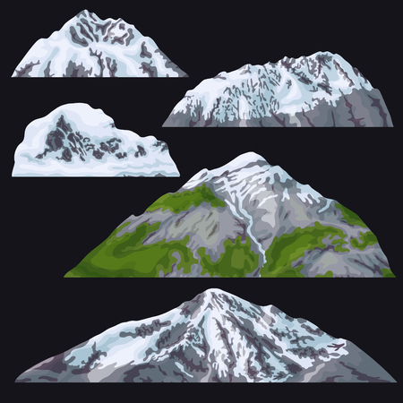 Set of mountains and glacier on black background.