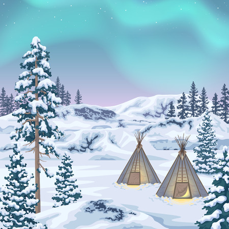 Northern view with aurora borealis. Polar light in starry sky. Winter landscape with teepee camp, snow covered fir-trees and   glaciers. Vector flat illustration.
