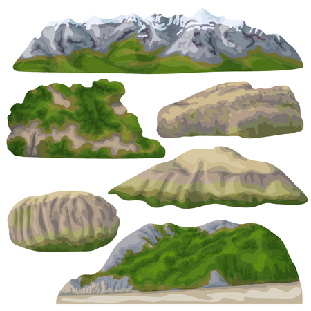 Set of rocks and stones isolated on white background. Mountains with snow-covered top and forest at the foot. Nature landscape design elements. Vector flat illustration. Stock Illustratie
