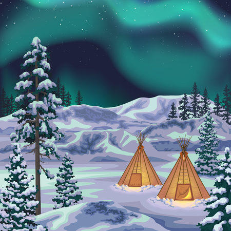 Northern view with aurora borealis. Polar light in starry sky. Winter landscape with teepee camp, snow covered fir-trees and   glaciers at night. Vector flat illustration. Stock Illustratie