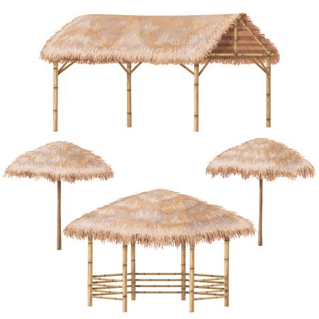 ヤシの木の屋根が付いている熱帯のビーチ避難施設のセット。竹ガゼボ、キャノピー、パラソルが白で隔離。ベクトル フラットデザイン要素。
