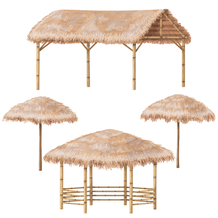 Set of tropical beach shelter buildings with palm thatch roof. Bamboo gazebo, canopy and parasol  isolated on white. Vector flat design element.