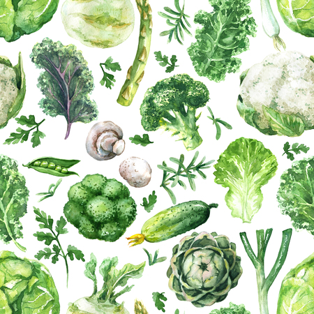 Hand drawn raw food illustration. Seamless pattern made with watercolor green vegetables. Set of organic products. Variety cabbages, greens, cucumber, mushroom, asparagus, onion on white background. Stockfoto
