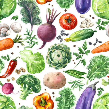 Hand drawn raw food illustration. Seamless pattern made with watercolor vegetables. Set of organic products. Cabbages, greens, cucumber, mushroom, tomato, beet, carrot on white background.