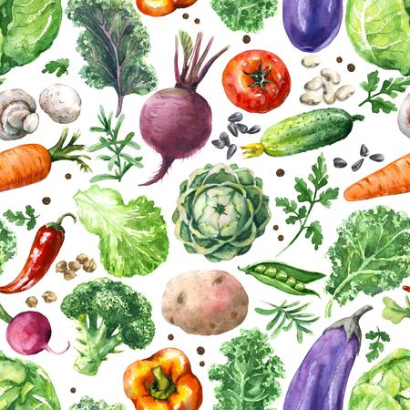Hand gezeichnete Illustration des rohen Lebensmittels. Nahtloses Muster gemacht mit Aquarellgemüse. Reihe von Bio-Produkten. Kohl, Grüns, Gurke, Pilz, Tomate, rote Rübe, Karotte auf weißem Hintergrund. Standard-Bild