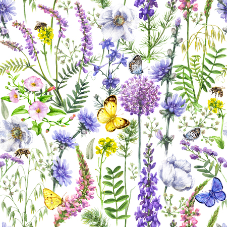 Hand drawn floral seamless pattern made with watercolor pink, violet and lilac wildflowers, bees and butterflies. Summer flowers, flying and sitting insects on white background. Stock Photo