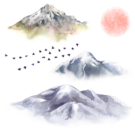 Watercolor painting. Hand drawn illustration. Mountain set and flying birds isolated on white. Nature landscape design elements. Red moon and mountains with snow tops aquarelle sketch. Stok Fotoğraf