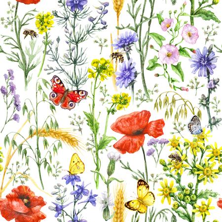 손으로 그린 수채화 야생화, 붉은 양 귀 비, 익은 밀 귀, 꿀벌과 나비로 만든 꽃 원활한 패턴. 여름 melliferous 꽃, 비행 및 흰색 배경에 곤충 앉아.