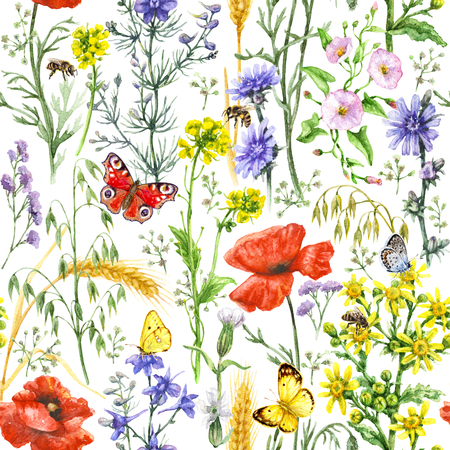 Hand drawn floral seamless pattern made with watercolor wildflowers, red poppies, ripe wheat ears, bees and butterflies. Summer melliferous flowers, flying and sitting insects on white background.