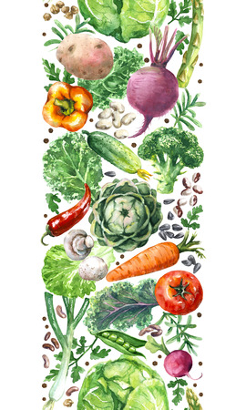 Hand drawn raw food illustration. Vertical seamless pattern with watercolor vegetables. Set of organic products. Cabbages, greens, tomato, asparagus, potato in row on white background. Stock Photo