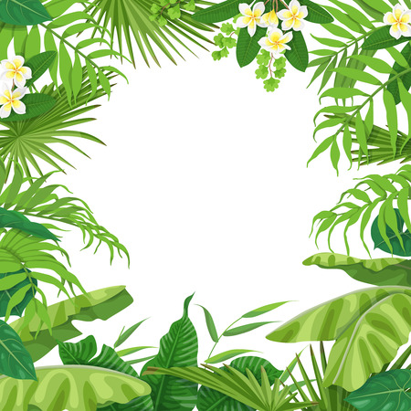Summer background with green leaves and flowers of tropical plants. Square floral frame with space for text. Tropic rainforest foliage border. Vector flat illustration. Vettoriali