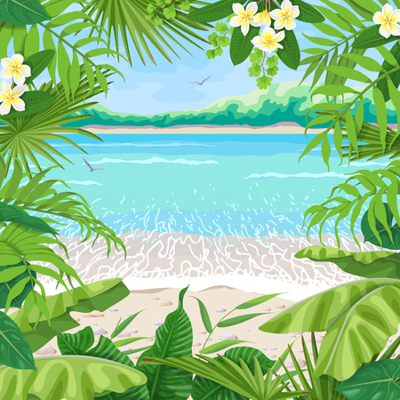 Summer background with tropical plants. Square floral frame on seaside landscape. Tropic foliage border on seascape  beach, waves, pebble, sand, birds and distant trees. Vector flat illustration. Çizim